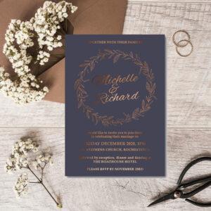 Blossom Wedding invite design with bronze foil