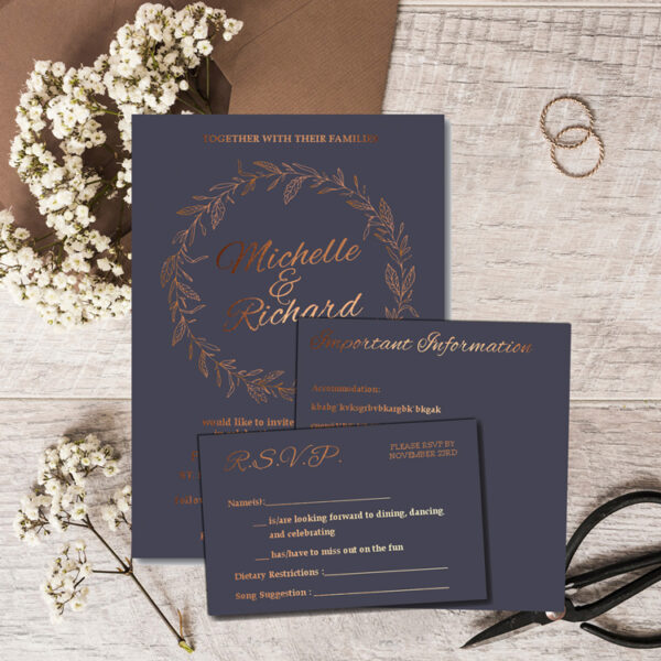 Blossom Wedding invite and rsvp with bronze foil