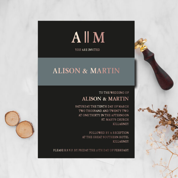 Copperplate Wedding invite design with rose gold foil