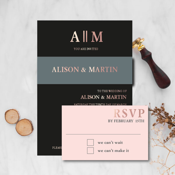 Copperplate Wedding design invite and rsvp with rose gold foil