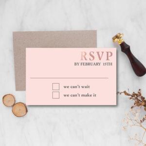 Copperplate Wedding rsvp design with rose gold foil