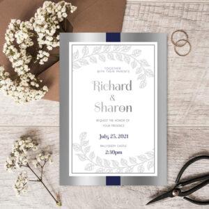 Deco Wedding invite design with silver foil