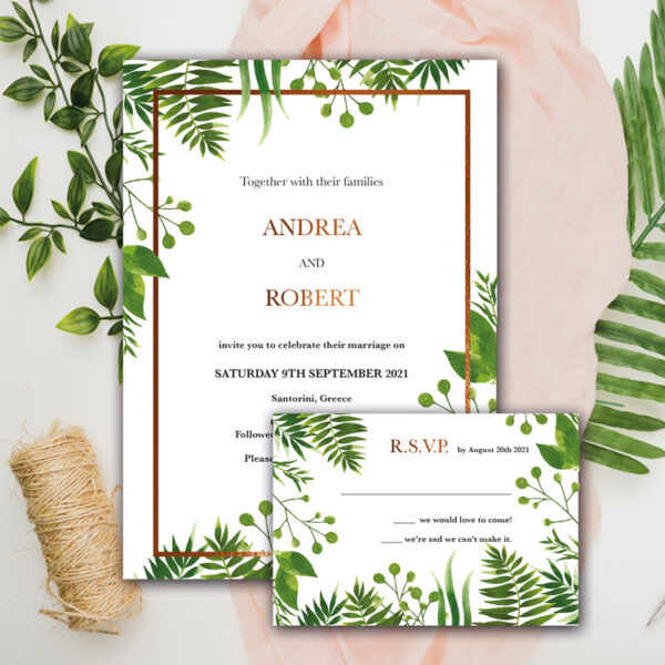 Floral Wedding invite and rsvp design with bronze foil