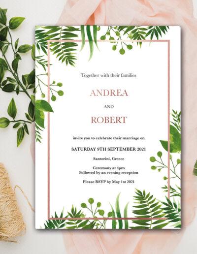 Floral Wedding invite design with rose gold foil