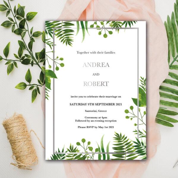Floral Wedding invite design with silver foil