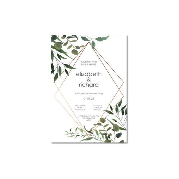 Geometric Wedding invite design with bronze foil
