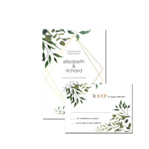 Geometric Wedding invite and rsvp design with gold foil