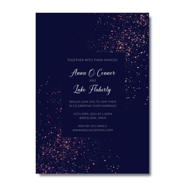 Glitter Wedding invite design with rose gold foil