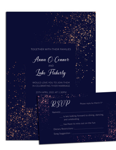 Glitter Wedding invite and rsvp design with rose gold foil