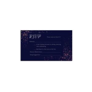 Glitter Wedding rsvp design with rose gold foil