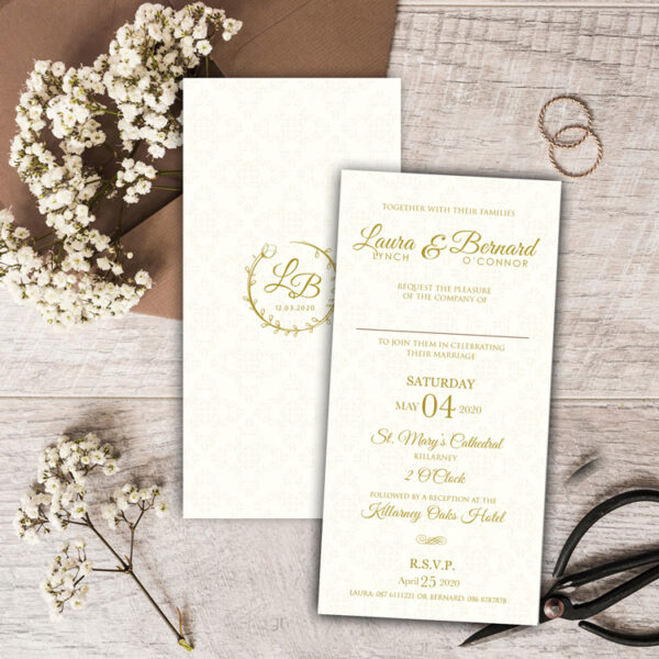 Haven wedding invite design with gold foil