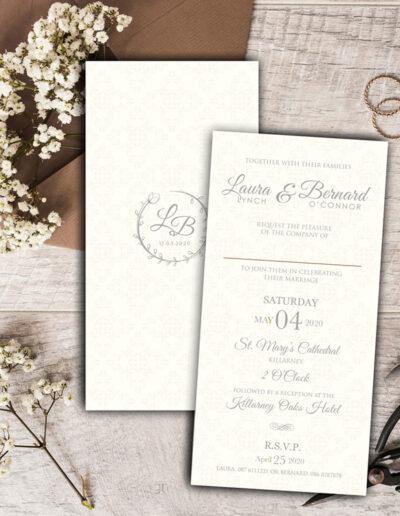 Haven wedding invite design with silver foil