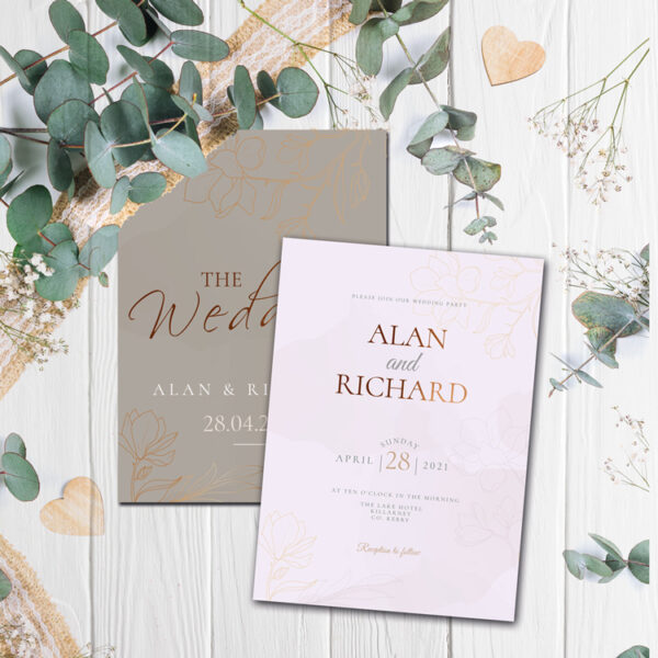 Hozier Wedding invite design with bronze foil