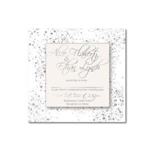 Layered Sparkle Wedding invite design with silver foil