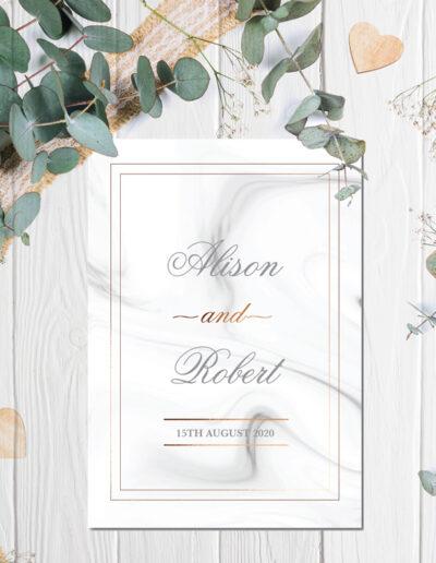Marble Wedding invite design with bronze foil