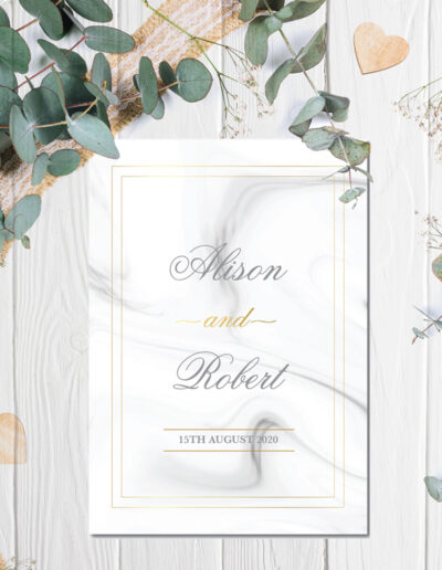 Marble Wedding invite design with gold foil