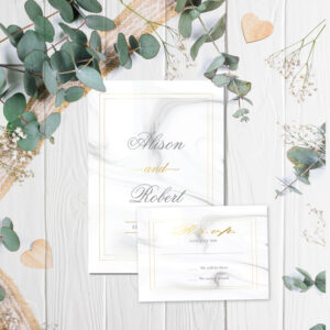 Marble Wedding invite and rsvp design with gold foil