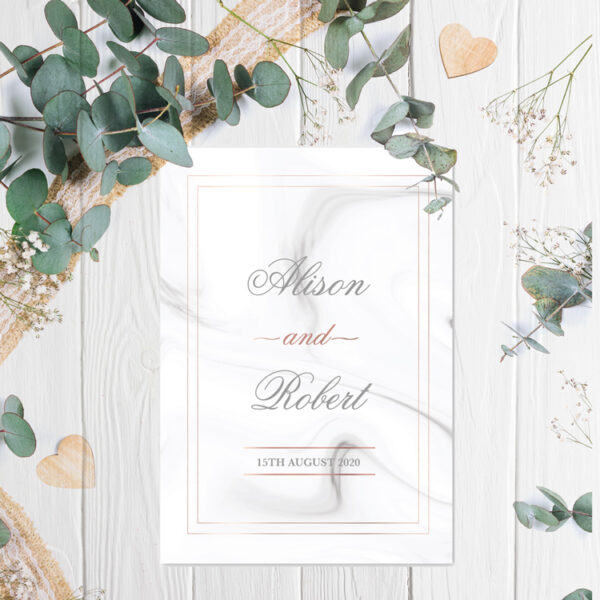 Marble Wedding invite design with rose gold foil
