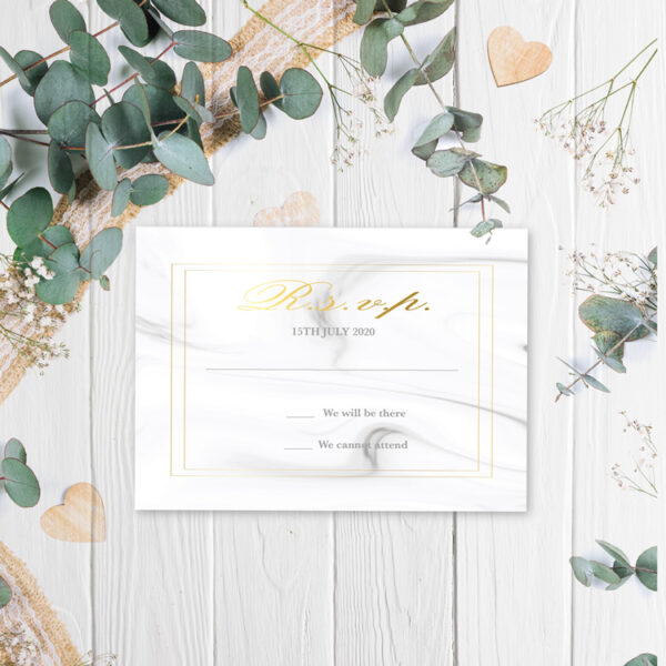 Marble Wedding rsvp design with gold foil