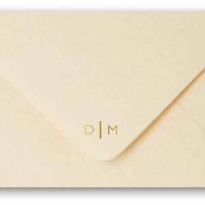 Monogram Cream Envelope Gold Foil