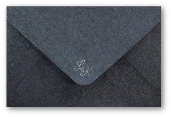 Monogram Dark Grey Envelope with Silver Foil