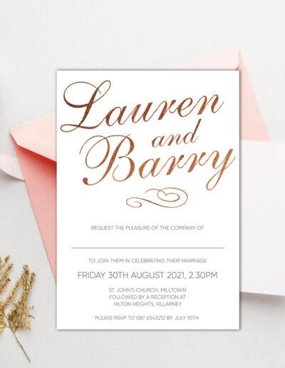 Script Wedding invite design with bronze foil
