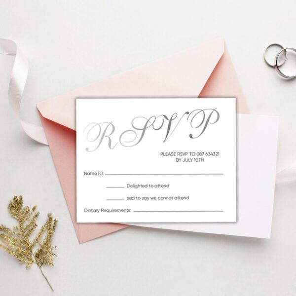 Script Wedding rsvp design with silver foil