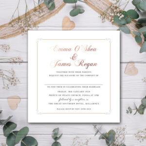 Square Wedding invite design with rose gold foil