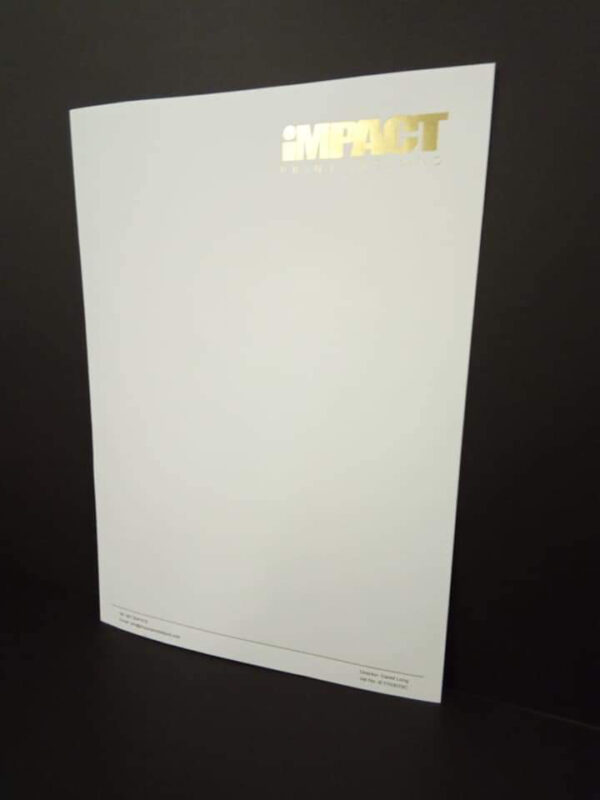 Company Letterhead with Gold Foil